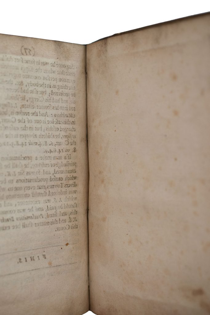 """Blank"" final leaf, sig. H4, of Star-Chamber Cases (London: John Grove, 1630)"